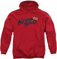 Mighty Mouse pull-over hoodie Might Logo adult red