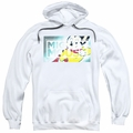 Mighty Mouse pull-over hoodie Mighty Rectangle adult white