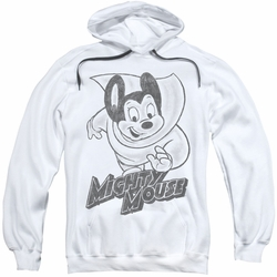 Mighty Mouse pull-over hoodie Mighty Sketch adult white