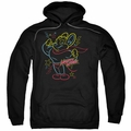 Mighty Mouse pull-over hoodie Neon Hero adult black