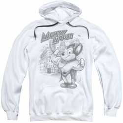 Mighty Mouse pull-over hoodie Protect And Serve adult white