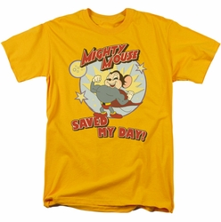 Mighty Mouse t-shirt Vintage Day mens gold