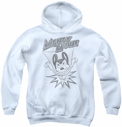 Mighty Mouse youth teen hoodie Bursting Out white