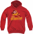Mighty Mouse youth teen hoodie I'm Mighty red