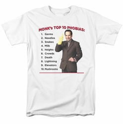 Monk t-shirt Top 10 Phobias mens white