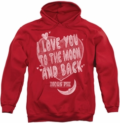 Moon Pie pull-over hoodie I Love You adult red