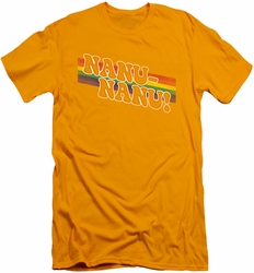 Mork and Mindy slim-fit t-shirt Nanu Rainbow mens gold