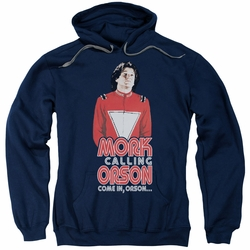 Mork & Mindy pull-over hoodie Come In Orson adult navy