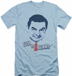 Mr Bean slim-fit t-shirt Full Of Beans mens light blue