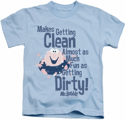 Mr Bubble kids t-shirt Clean And Dirty light blue