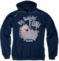 Mr Bubble pull-over hoodie Big Bubblin Fun adult navy