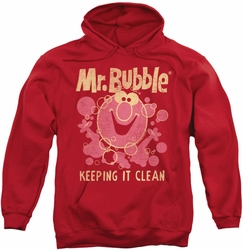 Mr Bubble pull-over hoodie Keeping It Clean adult red