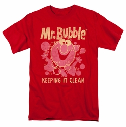 Mr Bubble t-shirt Keeping it Clean mens red
