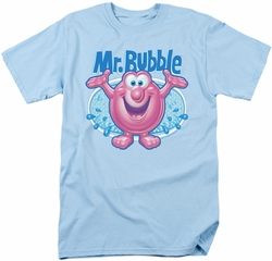 Mr Bubble t-shirt Overflowing mens light blue