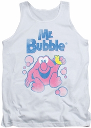 Mr Bubble tank top 80's Logo adult white