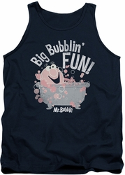 Mr Bubble tank top Big Bubblin Fun adult navy