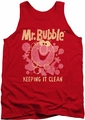 Mr Bubble tank top Keeping It Clean adult red
