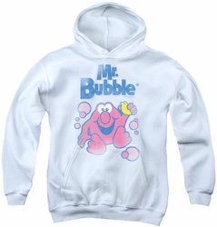 Mr Bubble youth teen hoodie 80s Logo white