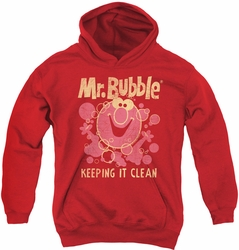 Mr Bubble youth teen hoodie Keeping It Clean red