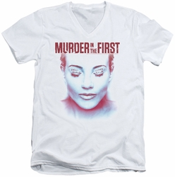 Murder In The First Don't Talk mens white v-neck t-shirt