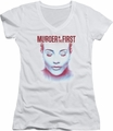 Murder In The First juniors v-neck t-shirt Don't Talk white