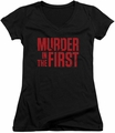 Murder In The First juniors v-neck t-shirt Stacked Logo black