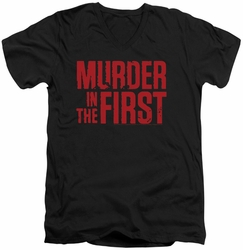 Murder In The First Stacked Logo mens black v-neck t-shirt