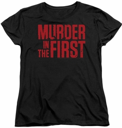 Murder In The First womens t-shirt Stacked Logo black
