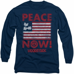 Music Woodstock long-sleeved shirt Peace Now navy