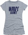 Navy juniors sheer t-shirt Aunt athletic heather