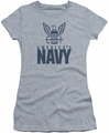 Navy juniors sheer t-shirt Eagle Logo athletic heather