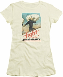Navy juniors sheer t-shirt Fight Let's Go cream