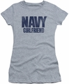 Navy juniors sheer t-shirt Girlfriend athletic heather
