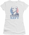 Navy juniors sheer t-shirt Join Now white