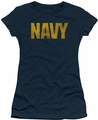 Navy juniors sheer t-shirt Logo navy