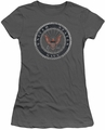 Navy juniors sheer t-shirt Rough Emblem charcoal