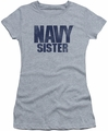 Navy juniors sheer t-shirt Sister athletic heather