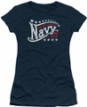 Navy juniors sheer t-shirt Stars navy