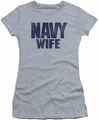 Navy juniors sheer t-shirt Wife athletic heather