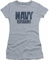 Navy juniors t-shirt Husband athletic heather