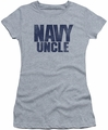 Navy juniors t-shirt Uncle athletic heather