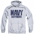 Navy pull-over hoodie Boyfriend adult athletic heather