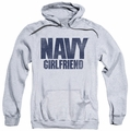 Navy pull-over hoodie Girlfriend adult athletic heather