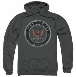 Navy pull-over hoodie Rough Emblem adult charcoal
