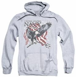 Navy pull-over hoodie Trident adult athletic heather