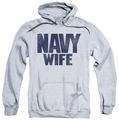 Navy pull-over hoodie Wife adult athletic heather