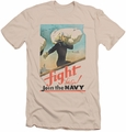 Navy slim-fit t-shirt Fight Let's Go mens cream