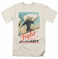 Navy t-shirt Fight Let's Go mens cream