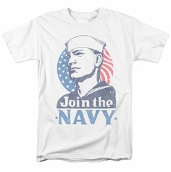 Navy t-shirt Join Now mens white