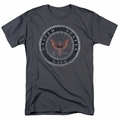 Navy t-shirt Rough Emblem mens charcoal